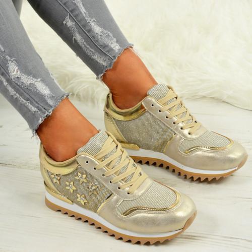 f7abeeb2d1c4 Ladies Womens Star Glitter Sparkle Wedge Trainers Sneaker Running ...