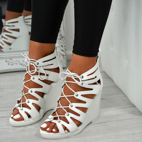 Myem White Lace Up Sandals