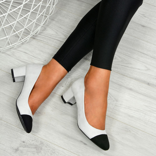 Aracely Grey Block Heel Pumps