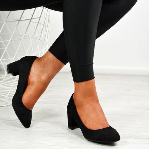 Aracely Black Block Heel Pumps