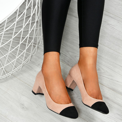 Aracely Pink Block Heel Pumps