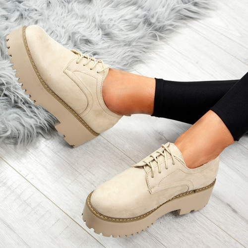 Jina Beige Lace Up Pumps