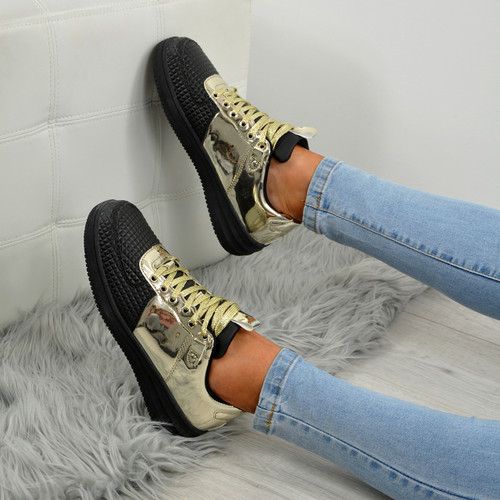 Crystal Black/Gold Trainers
