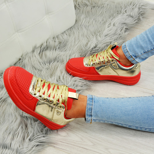 Crystal Red/Gold Trainers