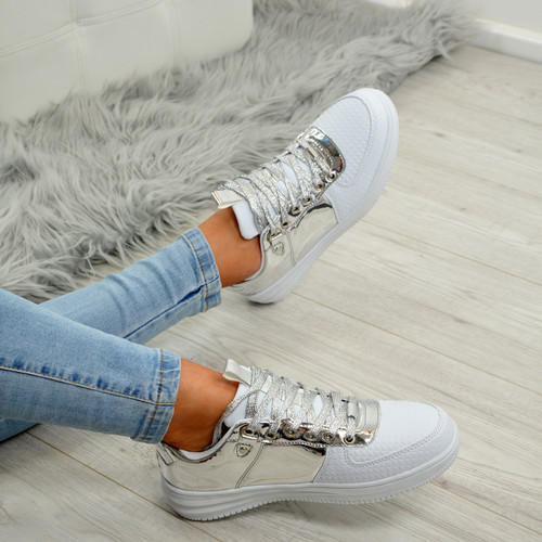 Crystal White/Silver Trainers