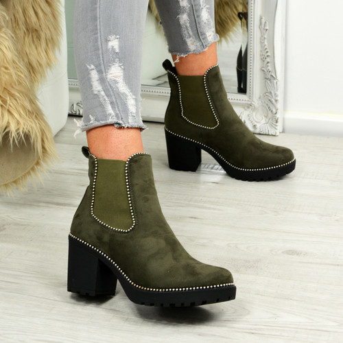 Ayana Army Green Chunky Ankle Boots
