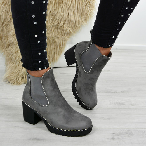 Ayana Light Grey Chunky Ankle Boots