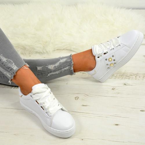 Marlie White Pu Pearl Sneakers