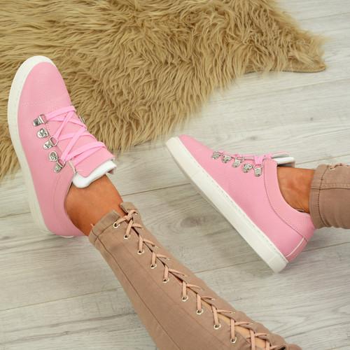 Siena Pink Lace Up Plimsolls