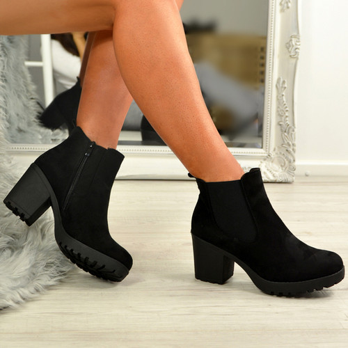 Keyla Black Suede Zip Ankle Boots