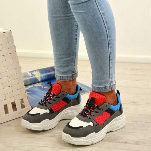 Miayn White Red Blue Running Trainers