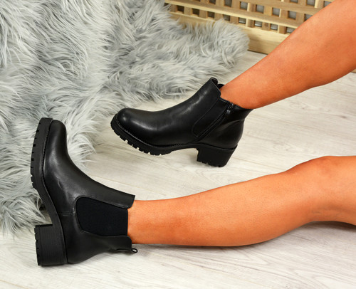 Nino Black Pu Zip Ankle Boots