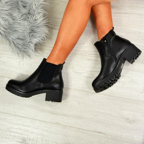 Nino Black Pu Zip Ankle Boots
