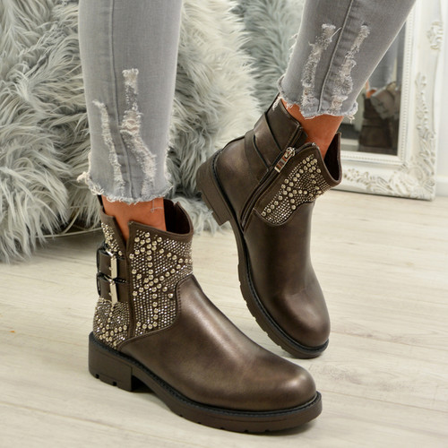 Amiya Bronze Studded Ankle Boots