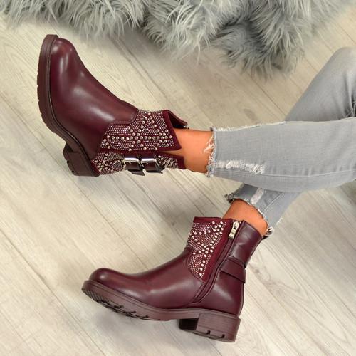 Amiya Wine Studded Ankle Boots