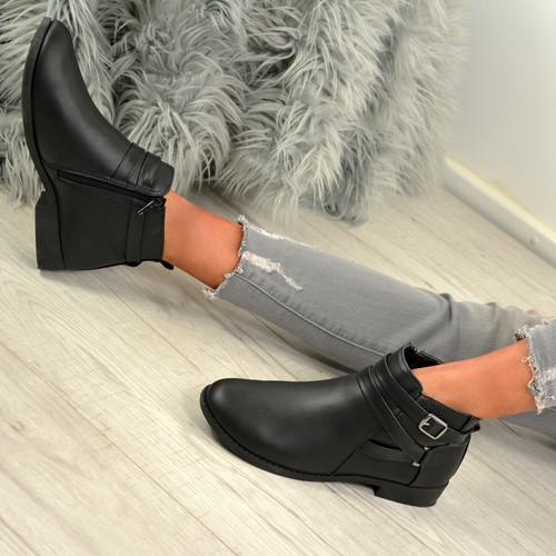 Jolie Black Pu Buckle Ankle Boots