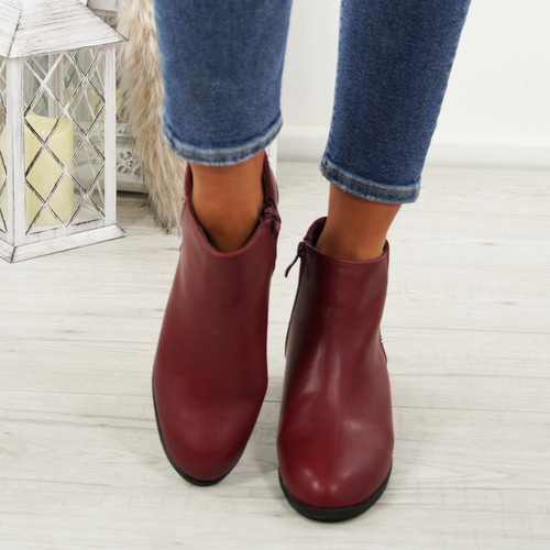 Nipa Red Pixie Studded Boots