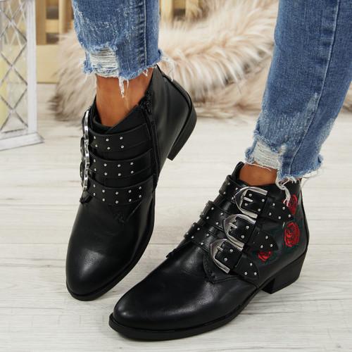 Afya Black Pu Rose Ankle Boots