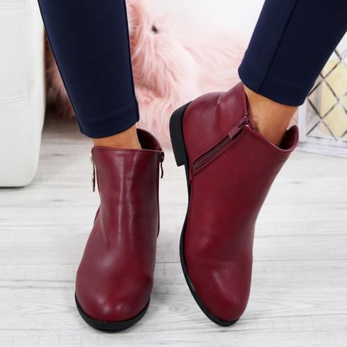 Amaya Wine Zip Ankle Boots