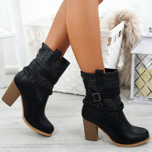 Maliyah Black Block Heel Boots