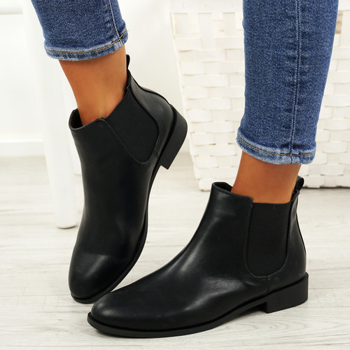 Ronna Black Pu Chelsea Ankle Boots