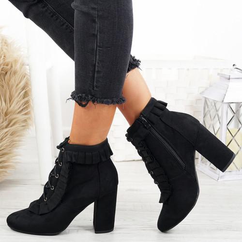 Nangi Black Ruffle Ankle Boots
