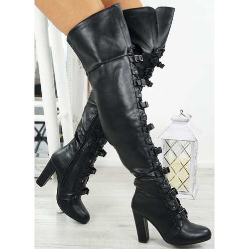 Egra Black Pu High Block Heel Otk Boots