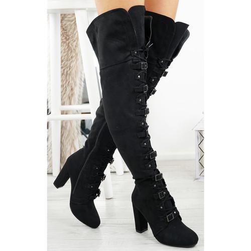 Egra Black Suede High Block Heel Otk Boots