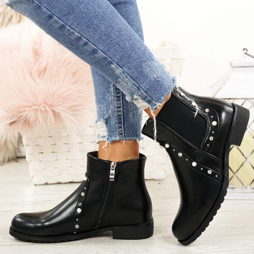Liss Black Studded Ankle Boots
