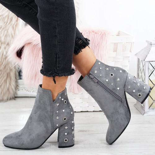 Notty Light Grey Star Studded Ankle Boots