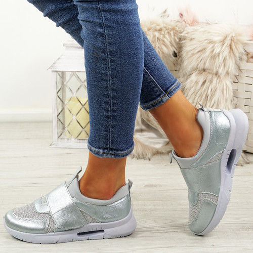 Griley Silver Shiny Trainers