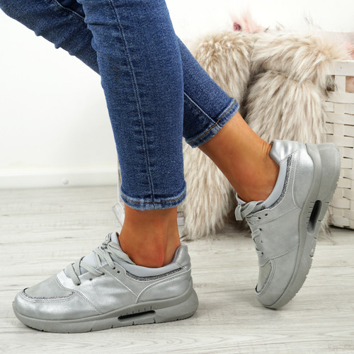 Ainy Grey Glitter Trainers