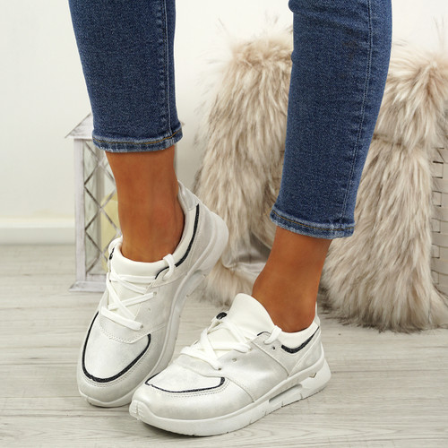 Ainy White Glitter Trainers