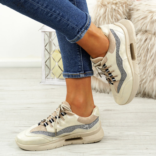 Frally Beige Glitter Sneakers