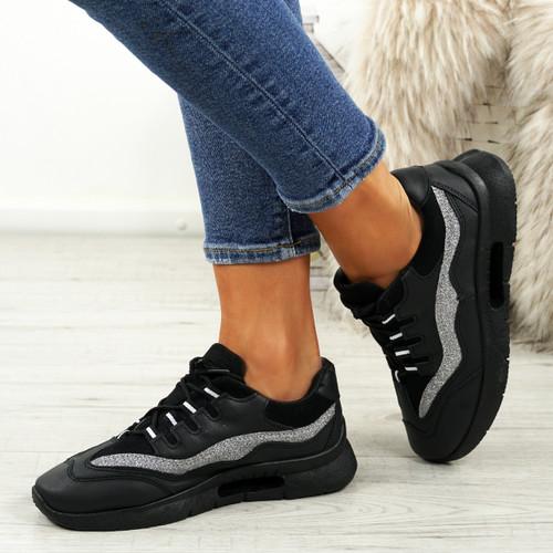 Frally Black Glitter Sneakers