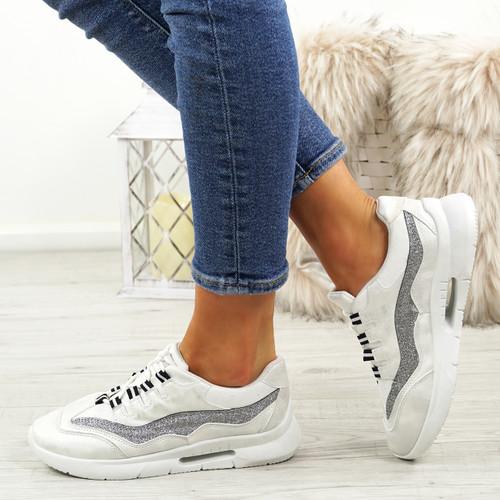 Frally White Glitter Sneakers