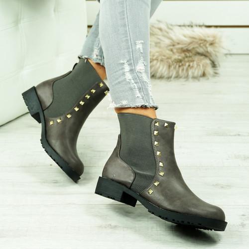 Oti Grey Studded Chelsea Boots