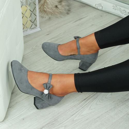 Wena Grey Bow Pumps
