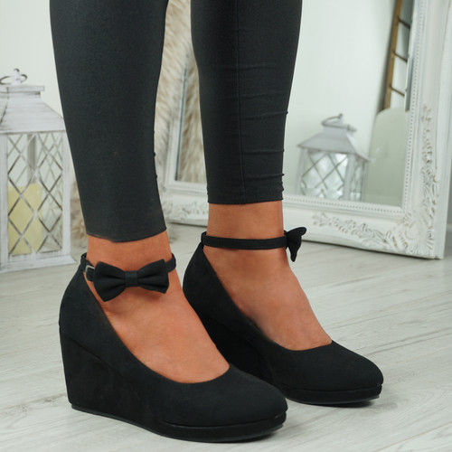 Via Black Bow Wedge Platform Pumps