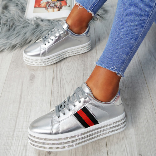 Mylie Silver Studded Flatform Trainers