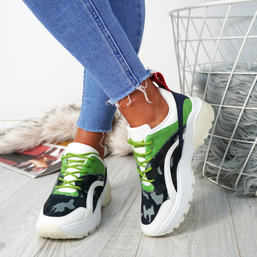 Logan Green Lace Up Trainers