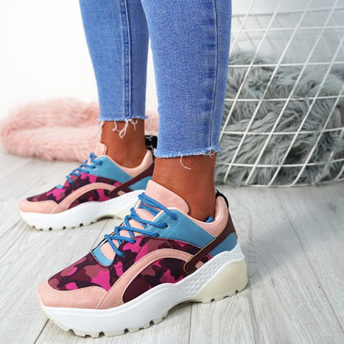 Logan Pink Lace Up Trainers