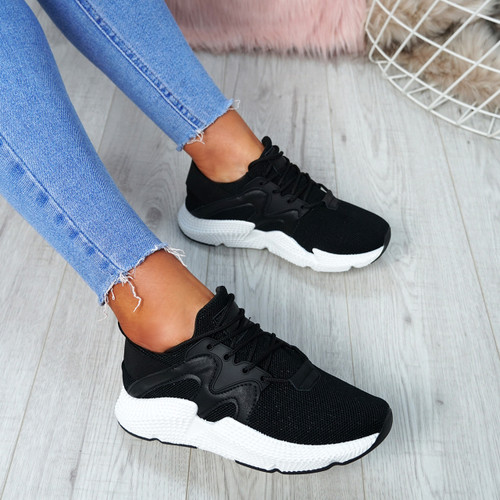 Ruth Black Mesh Trainers