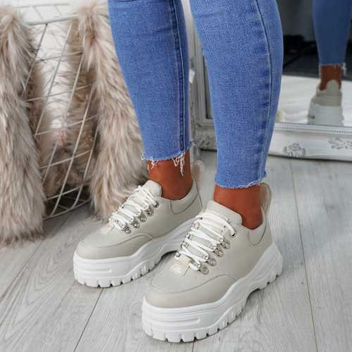 13f257222d8 Womens Ladies Platform Trainers Lace Up Sneakers Plimsolls Comfy ...