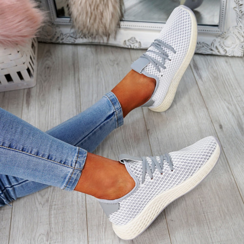 Occo Grey Lace Up Trainers
