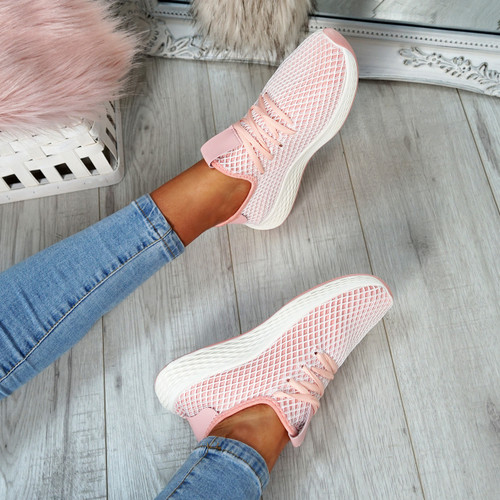 Occo Pink Lace Up Trainers
