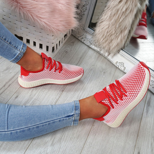Occo Red Lace Up Trainers