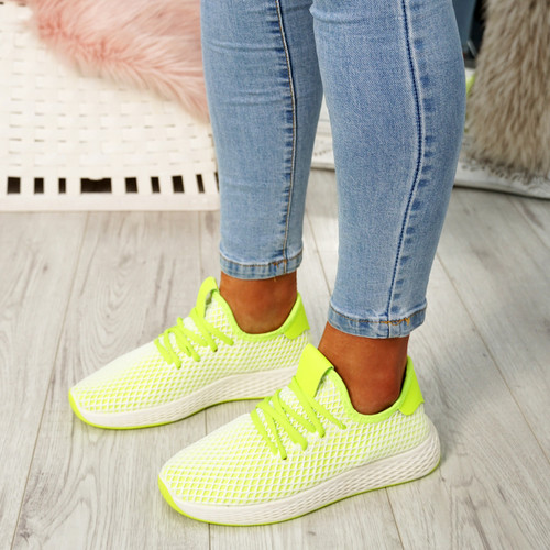 Occo Yellow Lace Up Trainers