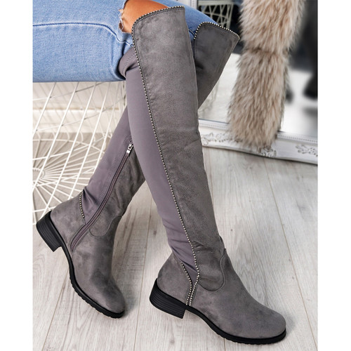 Arynne Light Grey Studded Otk Boots