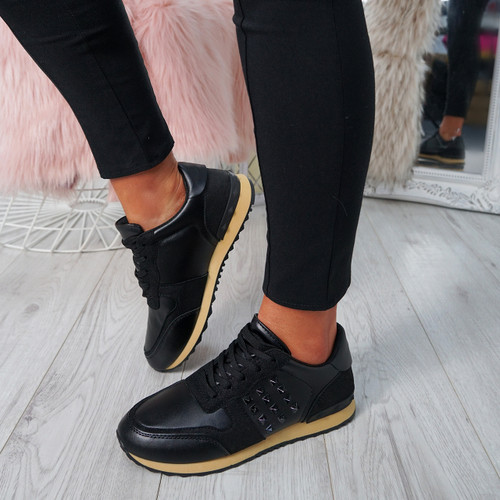 Nolla Black Lace Up Trainers